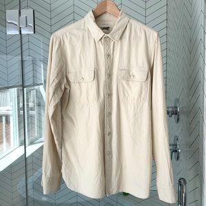 Obey Propaganda button down shirt cream beige
